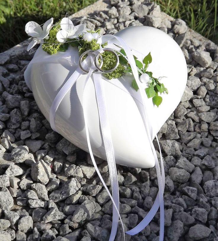 Ringkissen Ringhalter Keramik Herz weiß grün Liebe Hochzeit für Eheringe