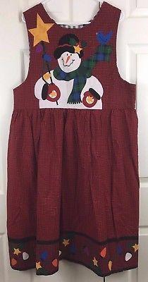 Christmas Jumper Dress Snowman Cotton Below Knee Homemade Red Plaid Size 16-18