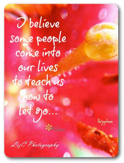 I believe some people come into our lives to teach us how to let go. <3 Join us for inspiration and love on Joy of Mom! <3 www.facebook.com/joyofmom