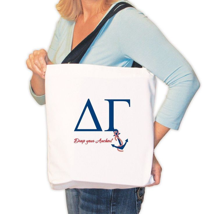 Delta Gamma Canvas Tote Bag - Drop Your Anchor!