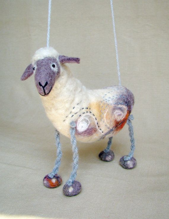 Barbara - Felt Sheep,Art Marionette. Puppet. Felted Stuffed Toy. Waldorf Style Sheep. MADE TO ORDER. $58.00, via Etsy.