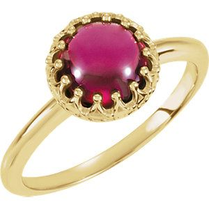 Rhodolite Garnet Crown Design Cabochon Ring to celebrate January Birthdays-- Click through for product details OR to locate a jeweler near you! #HowIStuller
