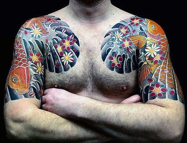 49 Best Chest Koi Fish Tattoos Images On Pinterest: 50 Japanese Chest Tattoos For Men