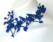 blue bib necklace, modern geometric rubber jewelry, frankideas handmade avant garde statement necklace, blue choker