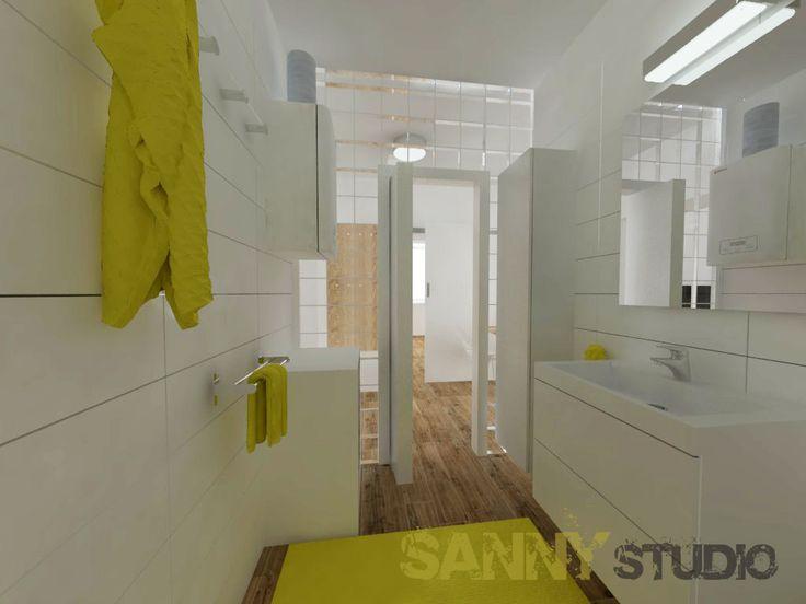 Návrh kúpeľne do 3 izbového bytu v Rači, Bratislava.