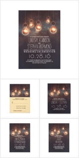 Romantic Light Bulbs Wedding Set Romantic vintage wedding invitation featuring whimsical lights. Beautiful rustic invite for your dreamy wedding with light bulbs ceremony backdrop on wedding invitations, RSVP cards, engagement party invitations, rehearsal dinner invitations, bridal shower invitations, and save the date cards!