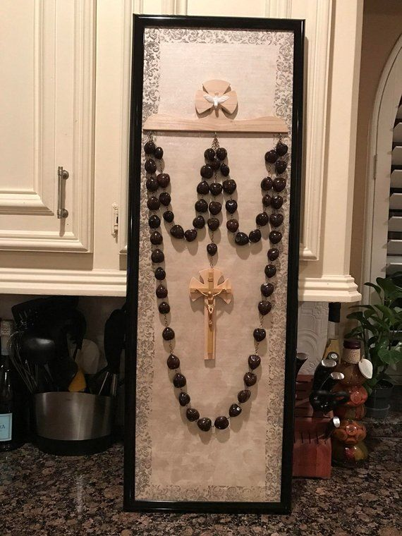 Beige Wall Rosary Hanger And Frame Set Etsy In 2020 Frame Set Rosary Beige Walls