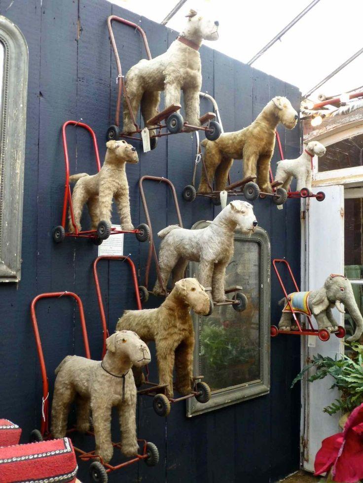 Vintage doggie walkers display at Petersham Nurseries. Christmas, 2013.