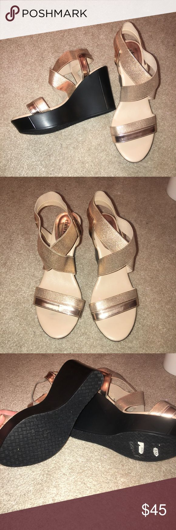 Charles David gold wedges worn once Charles David Shoes Wedges