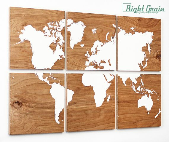 Rustic World Map Large Wall Art on 6 Woodgrain by RightGrain, $225.00
