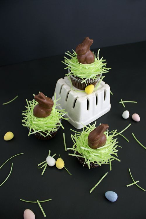 Easter Bunny Cupcakes with Mini Chocolate Bunnies and Edible Easter Basket Grass | like-the-cheese.com #easter #cupcakes