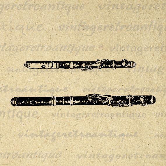 Digital Image Piccolo Printable Music Download Illustration