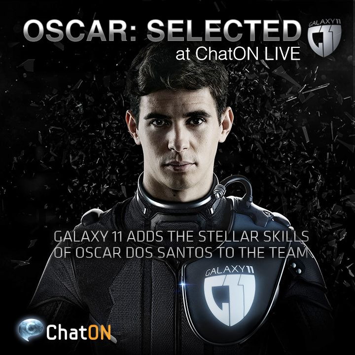 [ChatON LIVEpartner GALAXY11 ] Oscar: Selected / The Aliens have challenged Earth to an ultimate football game. Oscar Dos Santos Emboaba Jnr. has joined the GALAXY 11, The battle for Earth! His stellar ball skills will prove extremely useful in zero gravity. Stay tuned at GALAXY11 of the ChatON LIVE. [ChatON LIVEpartner GALAXY11 ] Oscar: Selected / GALAXY 11의 3번째 멤버로 Oscar dos Santos Emboaba Jnr.가 참여 하게 되었습니다. 그의 뛰어난 볼 감각은 무중력상태에서 더욱 빛을 발하게 될 것입니다! ChatON Live에서 실시간으로 GALAXY11의 소식을 받아보세요.