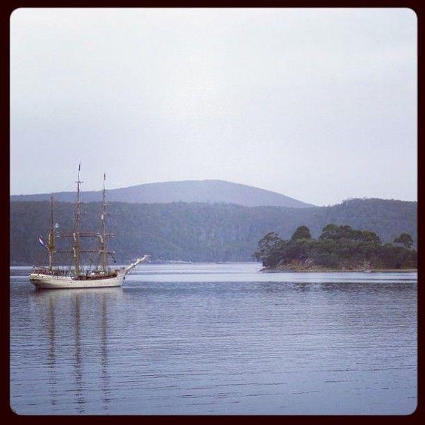 Tall ship off the Isle of the Dead, Port Arthur Tasmania.
