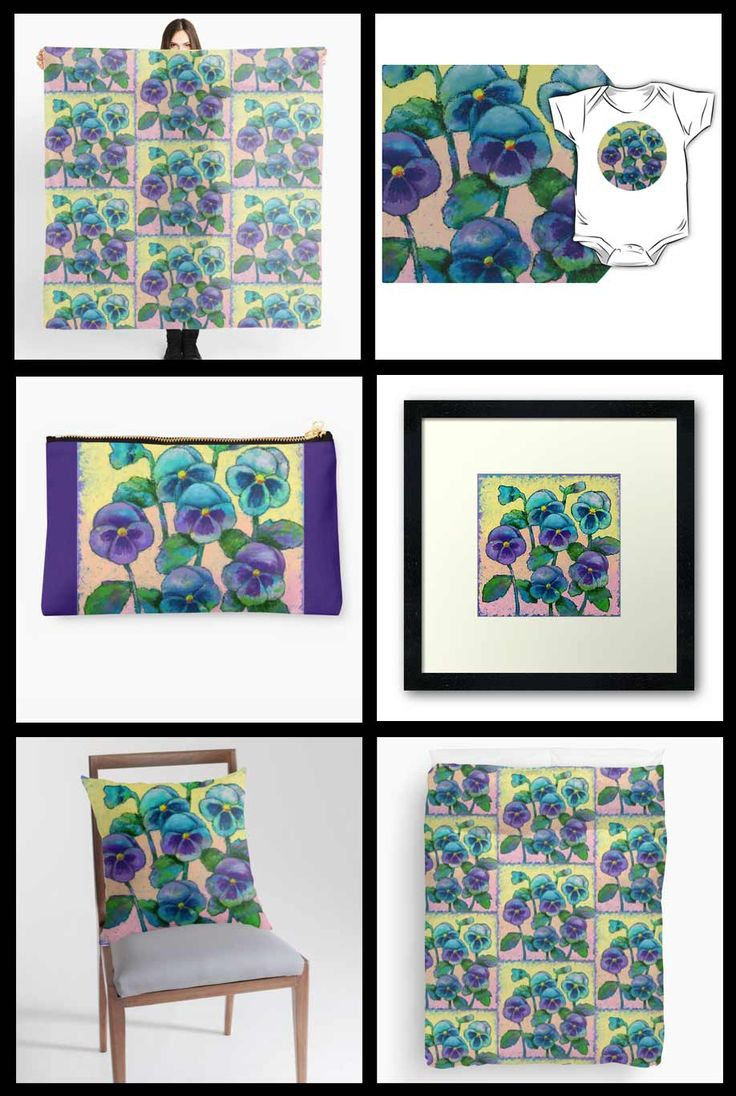 Pansies by Dorothy Siemens at RedBubble. http://dorothysiemens.com/redbubble-merchandise-prints-home-decor-and-more/