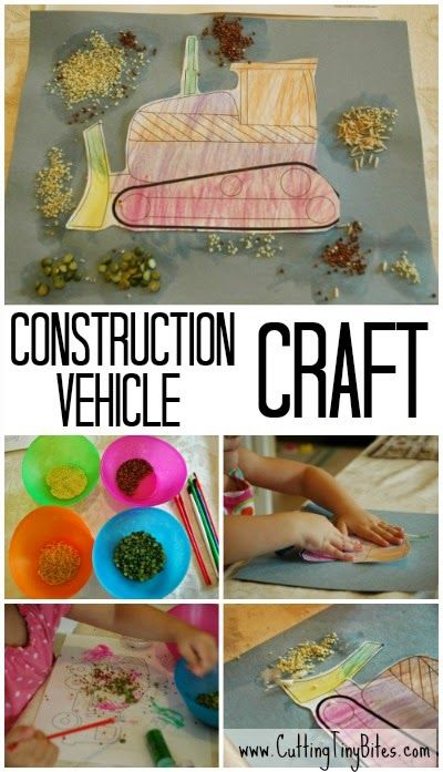 Great craft for preschool or kindergarten construction theme week.  Use a printable bulldozer, dump truck, or other construction vehicle for this craft that will develop fine motor skills!  Awesome art project.