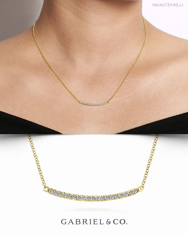 18 14k Yellow Gold Diamond Pave Curved Bar Necklace Gold Fashion Necklace Curved Bar Necklace Fashion Necklace
