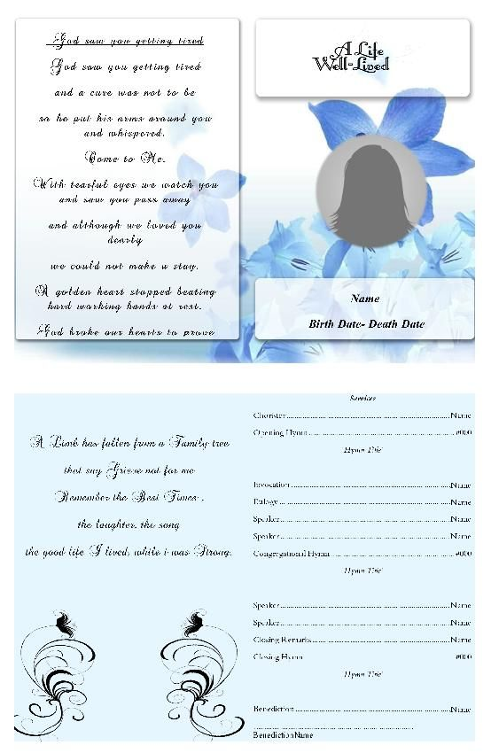 Best Funeral Program Template Images On   Christmas
