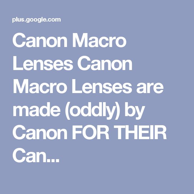 Canon Macro Lenses Canon Macro Lenses are made (oddly) by Canon FOR THEIR Can...