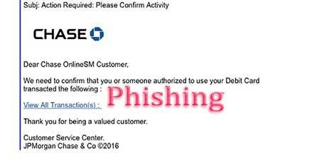 """Action required"" email purporting to be from Chase Bank claims that you must click a link to confirm that you or someone authorized to use your debit card made a recent transaction. #phishing #scam"