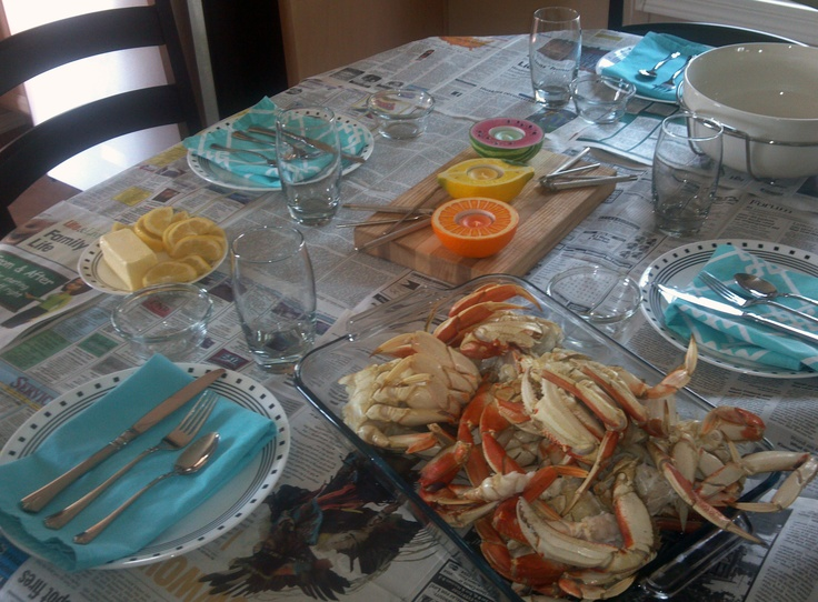 1000+ images about Crab feed ideas on Pinterest | Table covers, Centerpieces and Charger