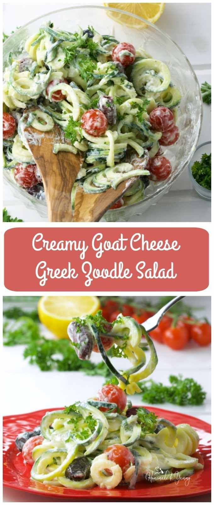 Creamy Goat Cheese Greek Zoodle Salad is fun to make. Bursting with Mediterranean flavours. Makes the perfect side to any meal, especially in grilling season.   homemadeandyummy.com