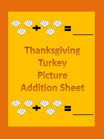 FREEBIE! Here is a Thanksgiving turkey picture addition worksheet. This is a great way to introduce students to the concept of adding sets of numbers together. If you download this free item, please take the time to rate it. If you like this product please visit my TPT store for many other items: My Kinder Garden Also if you like my products please be sure to click on the star by my store name to follow me and keep up to date on new products.