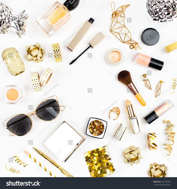 Female cosmetics collage with lipstick, brush and other accessories on white background with copy space. Flat lay, top view.