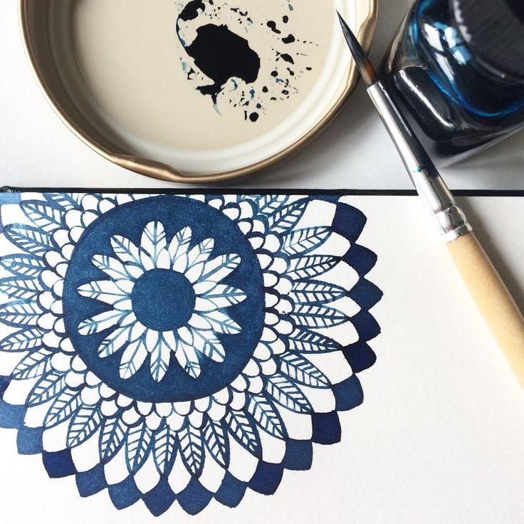 @viktoria.rodek on Instagram, mandala-ish painting, I think I'm going to call it Alice in Wonderland :) #mandala #aliceinwonderland #artismymeditation #indigo #ink #watercolour