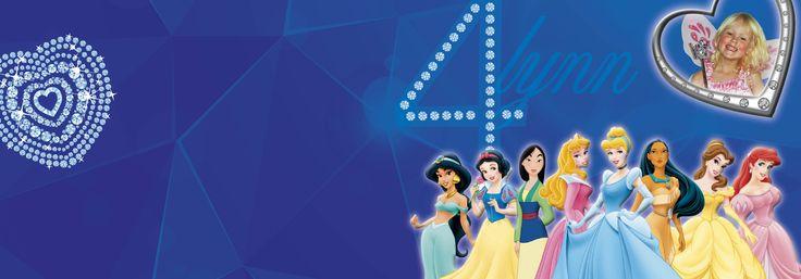 Lynn 4 jaar! Prinsessen, Disney, uitnodigingen, kaartje