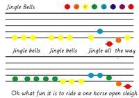 Colour coded Jingle Bells use with Hand bells, Bomwackers, chime bars and more...