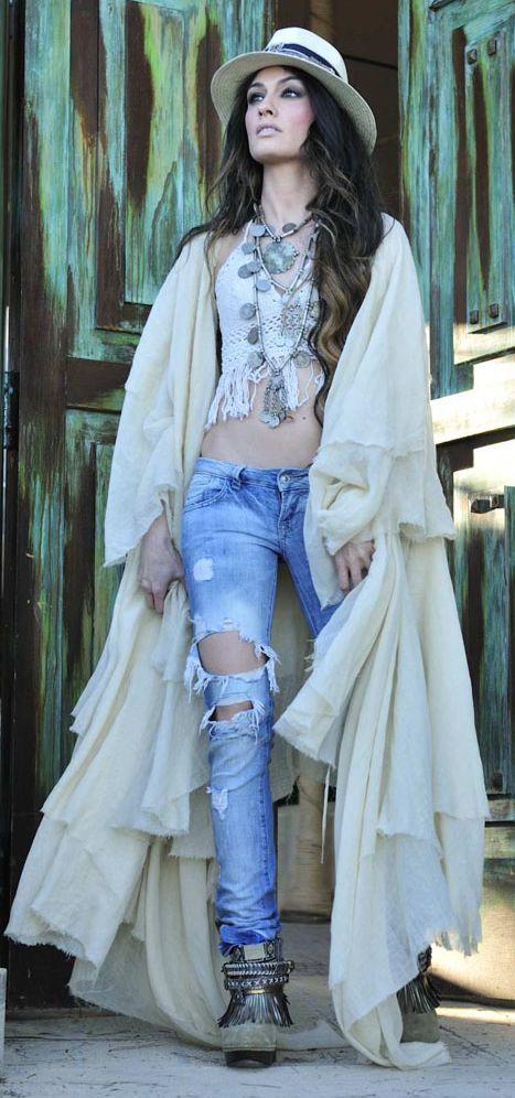Cream Womens Boho Inspired Layered Coat by Madame De Rosa