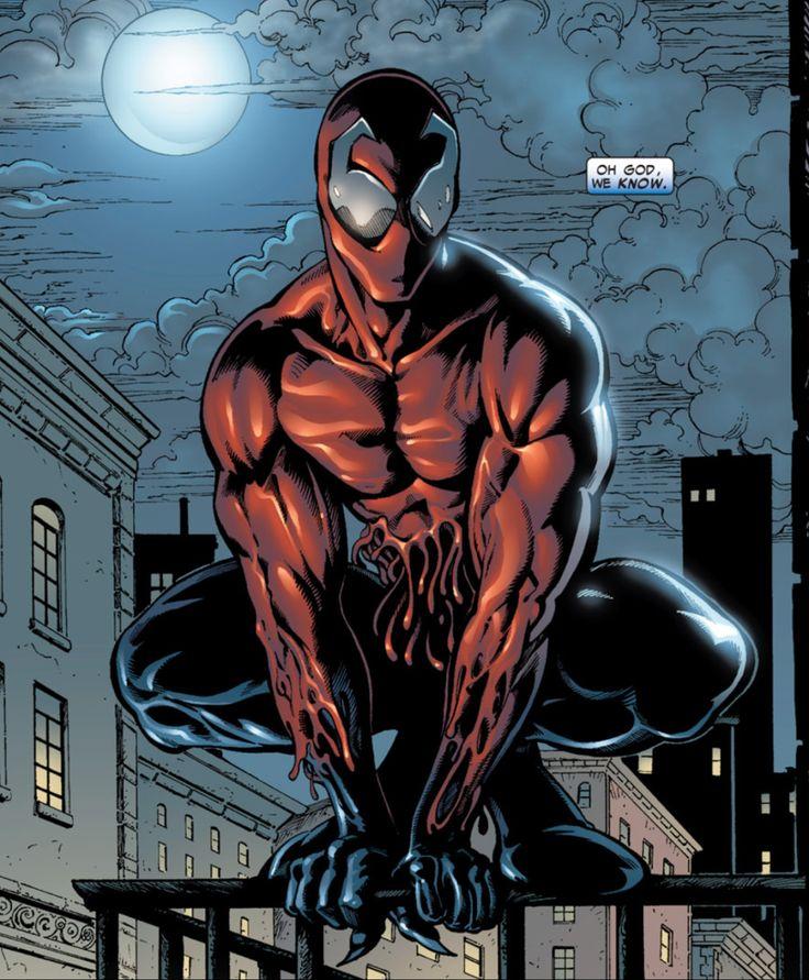 #Toxin  Estamos ante el hijo de Carnage, y, por la tanto, nieto de Venom. Toxin aparece como  resultado de una batalla bestial entre Venom y Carnage. De Carnage salió una parte de sí  mismo, que se une al policía de Nueva York, Patrick Mulligan. Patrick se ve obligado a  abandonar tanto el cuerpo de policía como a su familia, por miedo a no poder controlar al  simbionte... Pero poco a poco va controlándolo, convirtiéndose en una especie de antihéroe.