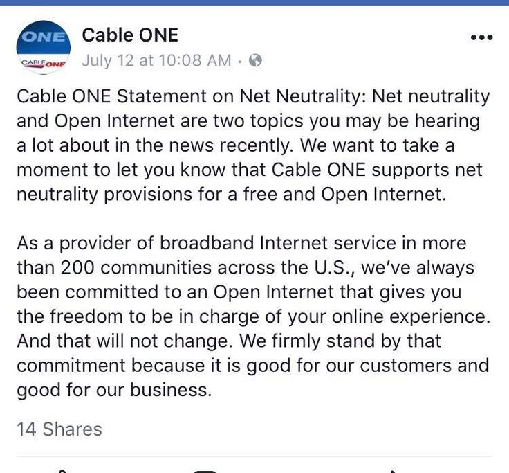 Cable One's stance on Net Neutrality.