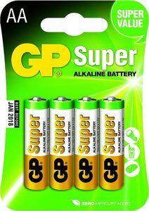 4 stuks GP Super Alkaline AA Mignon penlites in blisterverpakking. Prijs vanaf € 2,99!