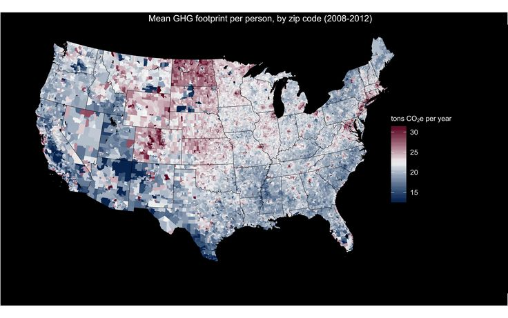 Who Pollutes? USA map of estimated greenhouse gas (GHG) footprints for 6 million US households over the period 2008-2012