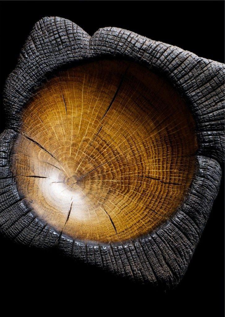 Japanese burned wood bowl