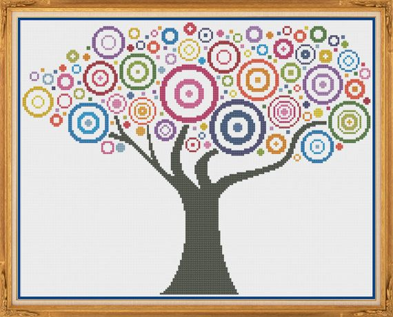 Tree 3 Counted Cross Stitch Pattern X-Stitch by HornswoggleStore