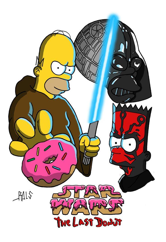 Simpsons Homer Darth Vader Darth Maul Donuts Jedi