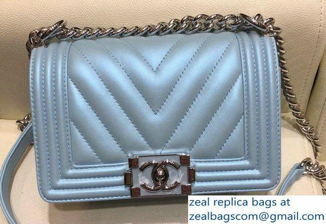 84315c7c9daf Chanel Metallic Resin Chevron Boy Small Flap Bag Turquoise 2018 ...
