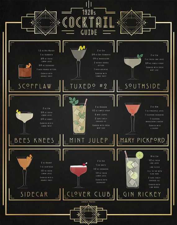 Print of my original illustration of popular 1920s cocktails. The 1920 Cocktail…
