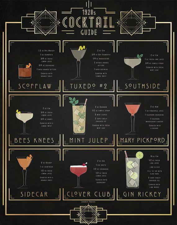 Print of my original illustration of popular 1920s cocktails. The 1920 Cocktail…