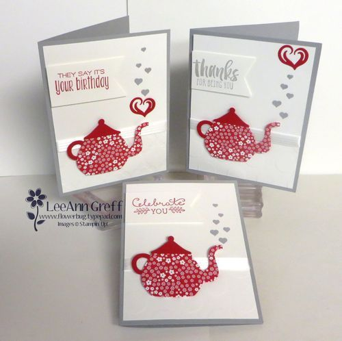 """Smoky Slate card 5 1/2"""" X 8 1/2"""", White is 4"""" X 5 1/4"""" plus the tag is 1 1/4"""" X 3"""". A Nice Cuppa Teapot cards."""