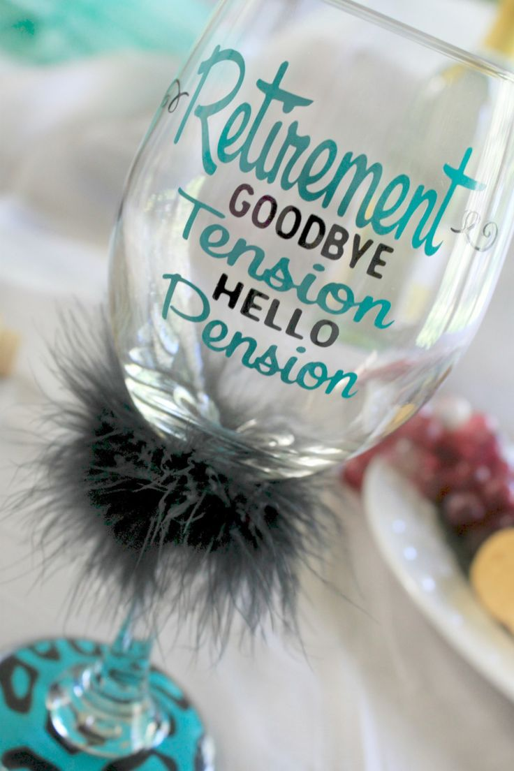 Retirement - Goodbye Tension...Hello Pension! Get the lucky Retiree this adorable wine glass as a congratulatory gift as she heads off to the great world of retirement! This 20 oz wine glass is made to order so colors can be changed up to accommodate her favorites :)  All of Monogram Revolutions glasses are made to order using only the highest quality outdoor and marine grade vinyl utilizing my professional 36 vinyl cutter/plotter and state of the art computer equipment and software. I am…