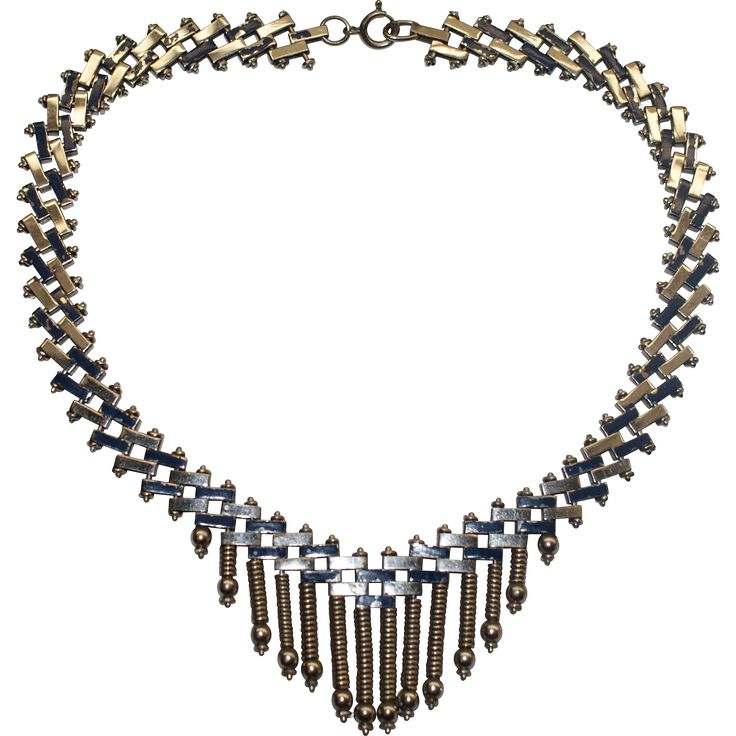 Jakob Bengel Blue Enamel Chrome Art Deco Necklace