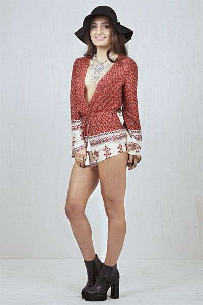 Kiara Long Sleeve Playsuit Red   Nelly & Me