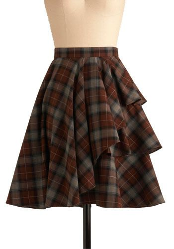 One for All Skirt. These days, people don't ride around on horses, speaking of honor, and courting paramours with an indelible chivalry, but that doesn't mean it's impossible evoke the romantic, adventuresome spirit of days long gone by. #brown #modcloth