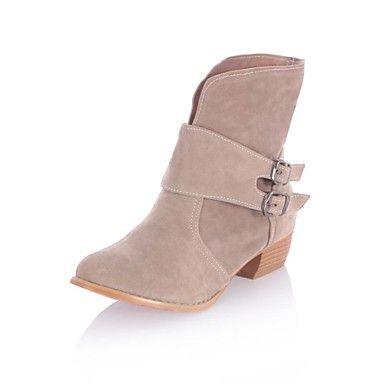 Tacón grueso de la Mujer Flocado Mediados de-Becerro Boots (más colores) - USD $ 34.99