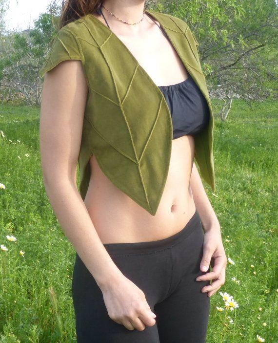 fairy pixie leaf vest forest vest.elf vestwoodland by Kalbelia