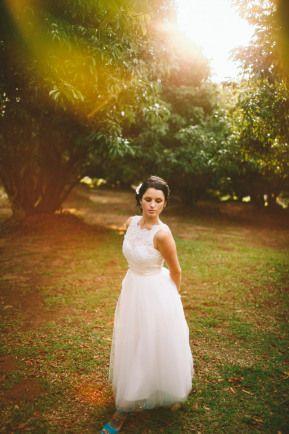 Short wedding dress Illusion neckline Tulle tea length